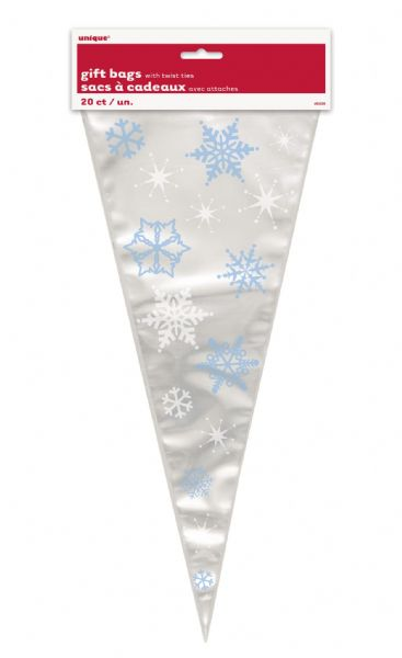 Snowflakes Large Cone Cellophane Bags (20)